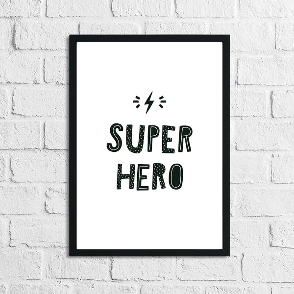 Scandinavian Super Hero Children's Nursery Bedroom Wall Decor Print