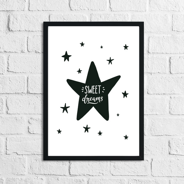 Scandinavian Sweet Dreams Children's Nursery Bedroom Wall Decor Print