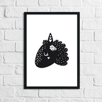 Scandinavian Unicorn Children's Nursery Room Wall Decor Print