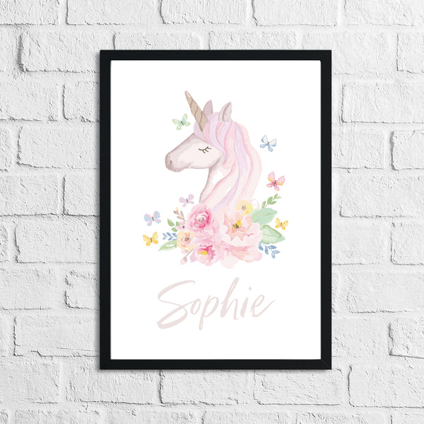 Personalised Watercolour Unicorn Name Children's Room Wall Decor Print