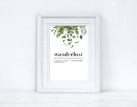 Wanderlust Definition Watercolour Greenery Gold Inspirational Simple Wall Home Decor Print