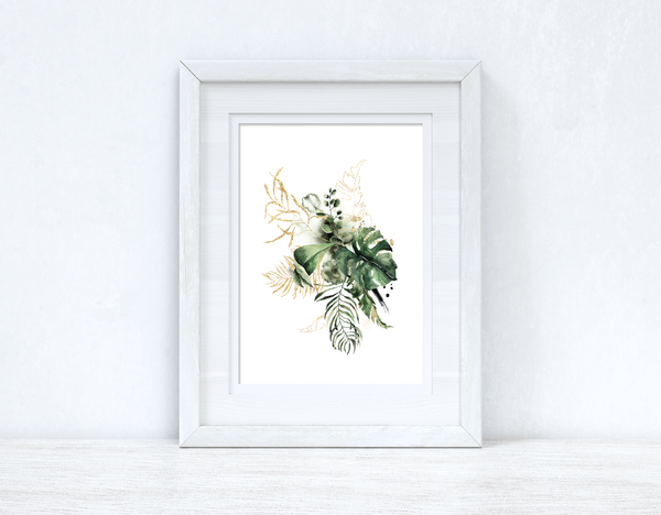 Watercolour Gold Greenery Madness Bedroom Home Kitchen Living Room Wall Decor Print