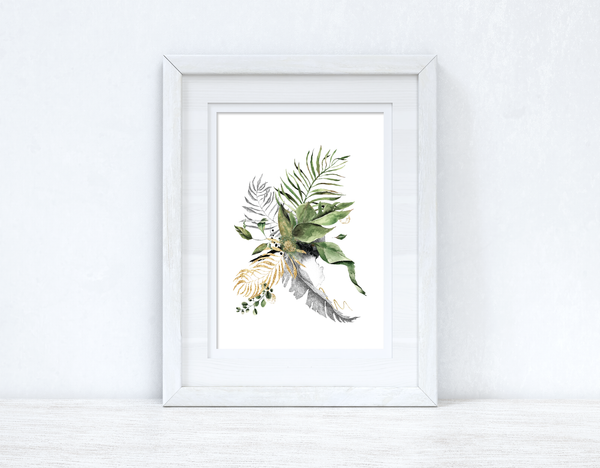 Watercolour Gold Greys Greenery Madness Bedroom Home Kitchen Living Room Wall Decor Print