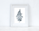 Watercolour Grey Tree Christmas Seasonal Wall Home Decor Print