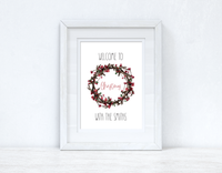 "Welcome To Christmas With The ""Surname"" Wreath Seasonal Wall Home Decor Print"