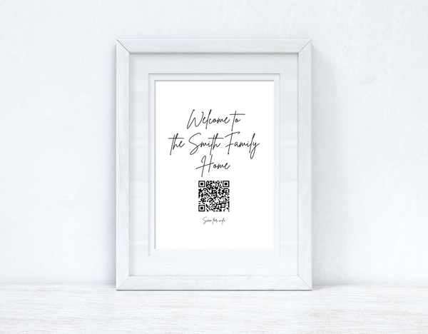 "Welcome To The ""Surname"" Family Home Wifi QR Scan Home Wall Decor Print"