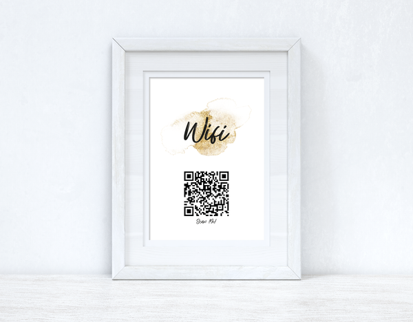 Wifi Gold Splatter Splatter Scan Me! Wifi QR Scan Home Wall Decor Print