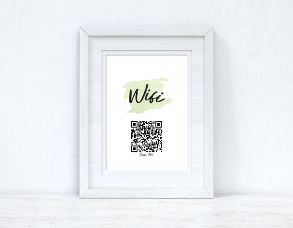 Wifi Green Splatter Scan Me! Wifi QR Scan Home Wall Decor Print