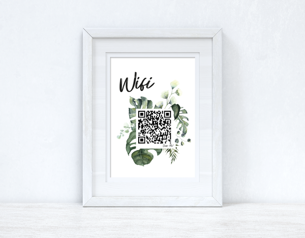 Wifi Greenery Scan Me! Wifi QR Scan Home Wall Decor Print