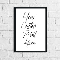 Custom Personalised Song Lyrics Film Artist Quote Simple Poster Print
