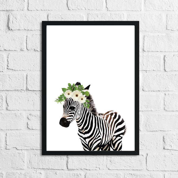 Zebra Wild Animal Floral Nursery Children's Room Wall Decor Print