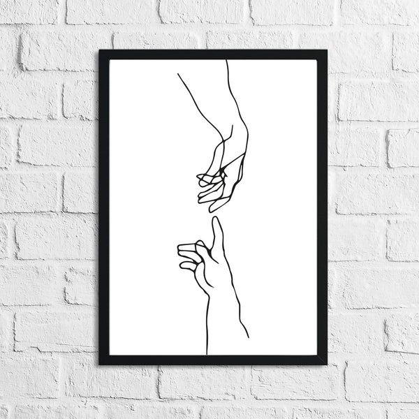 Adams Touching Hands Line Work Wall Decor Print