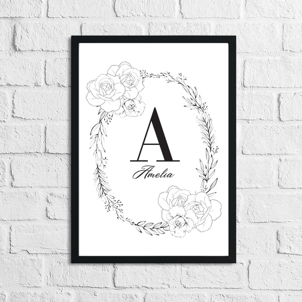Black Rose Wreath Name Children's Room Wall Decor Print