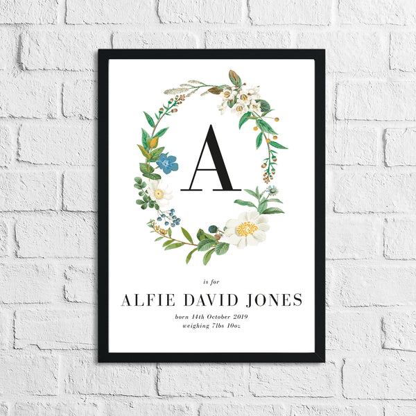 Personalised Baby Born Neutral Wreath Floral Children's Bedroom Wall Decor Print
