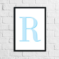 Personalised Blue Initial Children's Room Wall Decor Print