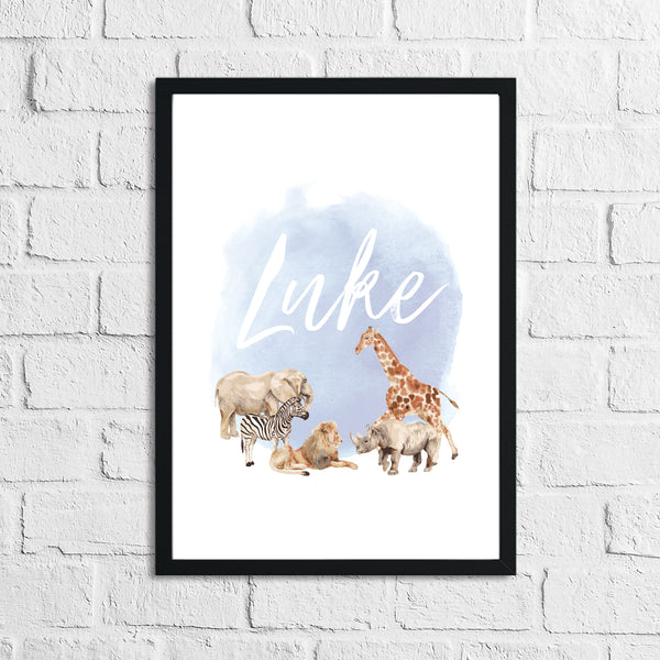 Personalised Zoo Animals Blue Name Children's Room Wall Decor Print