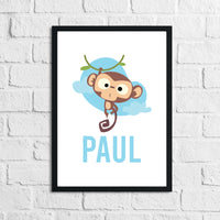 Cartoon Monkey Personalised Name Blue Children's Room Wall Decor Print