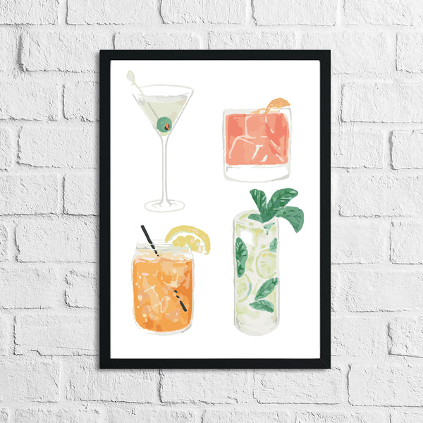 4 Cocktails Drink Alcohol Wall Decor Print