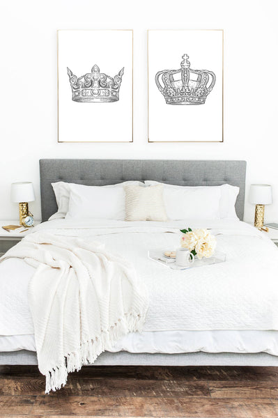 King & Queen Crown Couple Black Set Of 2 Bedroom Prints