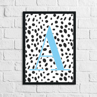 Personalised Dalmatian Blue Name Initial Children's Teenager Room Wall Decor Print