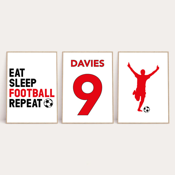 Personalised Surname Eat Sleep Football Repeat Children's Wall Decor Set Of 3 Prints (Any Colour/No.)