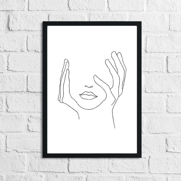 Women's Face Line Work Bathroom Bedroom Dressing Room Wall Decor Print