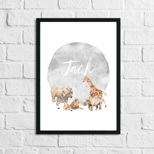 Personalised Zoo Animals Grey Name Children's Room Wall Decor Print