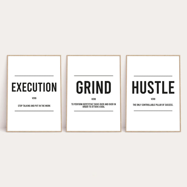 Grind Hustle Execution Inspirational Wall Decor Quote Print Set Of 3