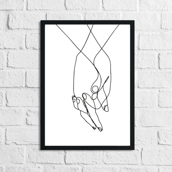 Holding Hands Couple Line Work Wall Decor Print