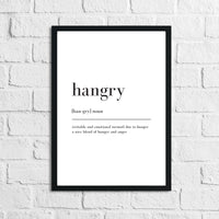 Hangry Definition Kitchen Simple Wall Decor Print