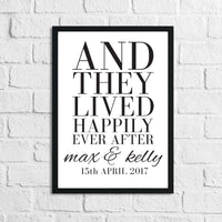 And They Lived Happily Ever After Custom Names & Date Print Home Wall Decor Print