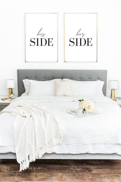 His & Hers Side 2 Couple Black Set Of 2 Bedroom Prints