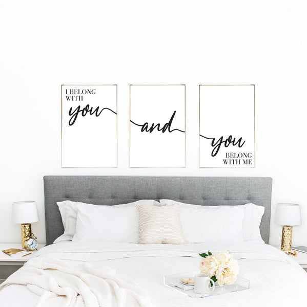 I belong With You & You Belong With Me Couple Black Set Of 3 Bedroom Prints