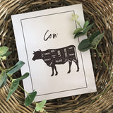 NEW Cow Beef Cuts Simple Cool Kitchen Farmhouse Wall Decor Print
