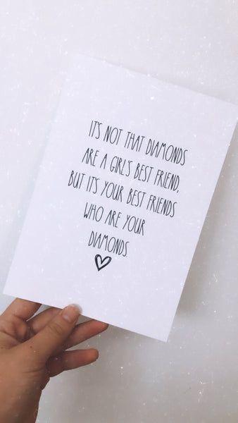 Best Friends Diamonds Inspirational Wall Decor Quote Print