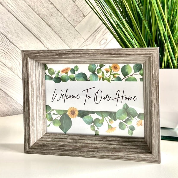 Welcome To Our Home Green Eucalyptus Spring Floral Landscaped Wall Decor Print