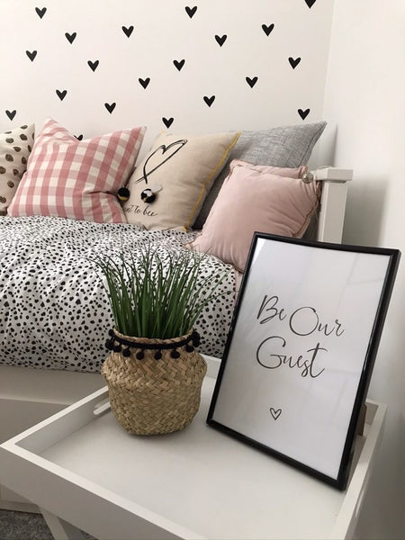 Be Our Guest Love Heart Bedroom Guest Room Wall Decor Print