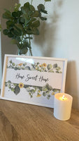 Home Sweet Home Green Eucalyptus Floral Landscaped Wall Decor Print