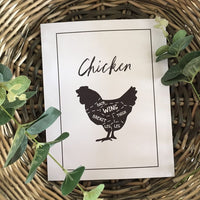 Chicken Cuts Simple Cool Kitchen Farmhouse Wall Decor Print