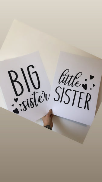 Big Sister Little Sister Hearts Children's Wall Bedroom Decor Set Of 2 Prints