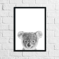 Koala Black & White Animal Nursery Children's Room Wall Decor Print