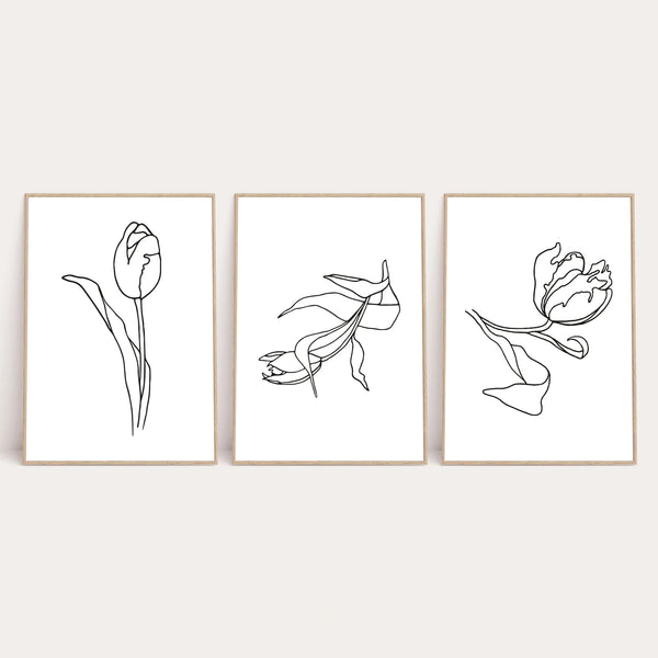 Set Of 3 Flowers Simple Line Work Bedroom Wall Decor Print