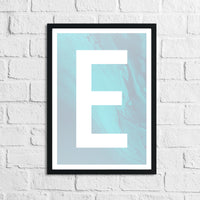 Personalised Blue Marble Initial Children's Teenager Room Wall Decor Print