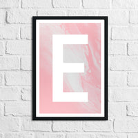 Personalised Pink Marble Initial Children's Teenager Room Wall Decor Print