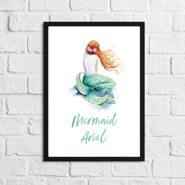 Personalised Mermaid Red Hair Children's Room Wall Decor Print