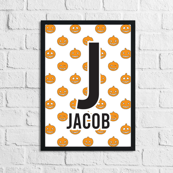 Personalised Pumpkin Halloween Name Children's Room Wall Decor Print