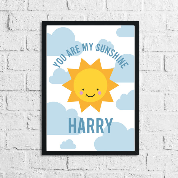 Personalised You Are My Sunshine Blue Children's Room Wall Decor Print