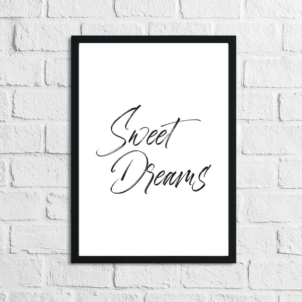 Sweet Dreams Bedroom Decor Simple Print