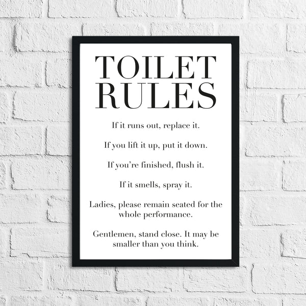Toilet Rules Funny Humorous Bathroom Wall Decor Print