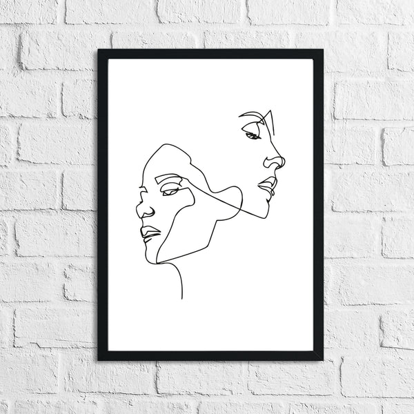 Simple Two Faces Line Work Bedroom Wall Decor Print